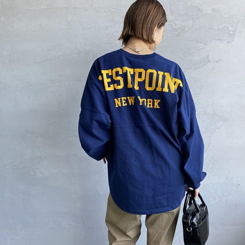 THE SHINZONE [ザ シンゾーン] ミリタリーバックプリントTシャツ [21AMSCU15] 85 NAVY&&モデル身長:163cm 着用サイズ:F&&