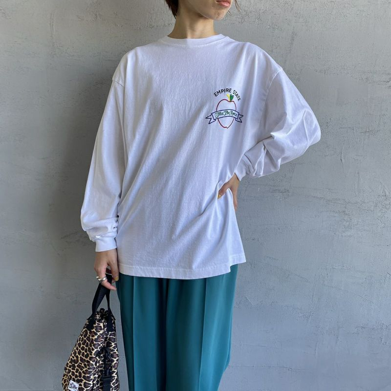 THE SHINZONE [ザ シンゾーン] EMPIRE STATE Tシャツ [21AMSCU20] 01 WHITE&&モデル身長:158cm 着用サイズ:F&&