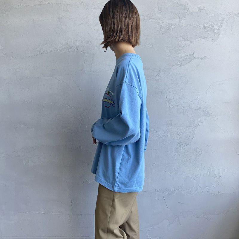 THE SHINZONE [ザ シンゾーン] EMPIRE STATE Tシャツ [21AMSCU20] 83 BLUE&&モデル身長:163cm 着用サイズ:F&&