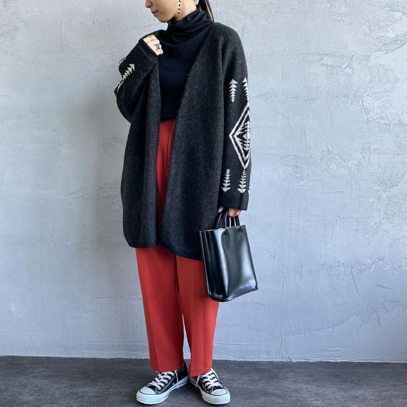 PENDLETON [ペンドルトン] ノーカラーミドルカーディガン [1575-6103] 49 BLACK&&モデル身長:156cm 着用サイズ:F&&