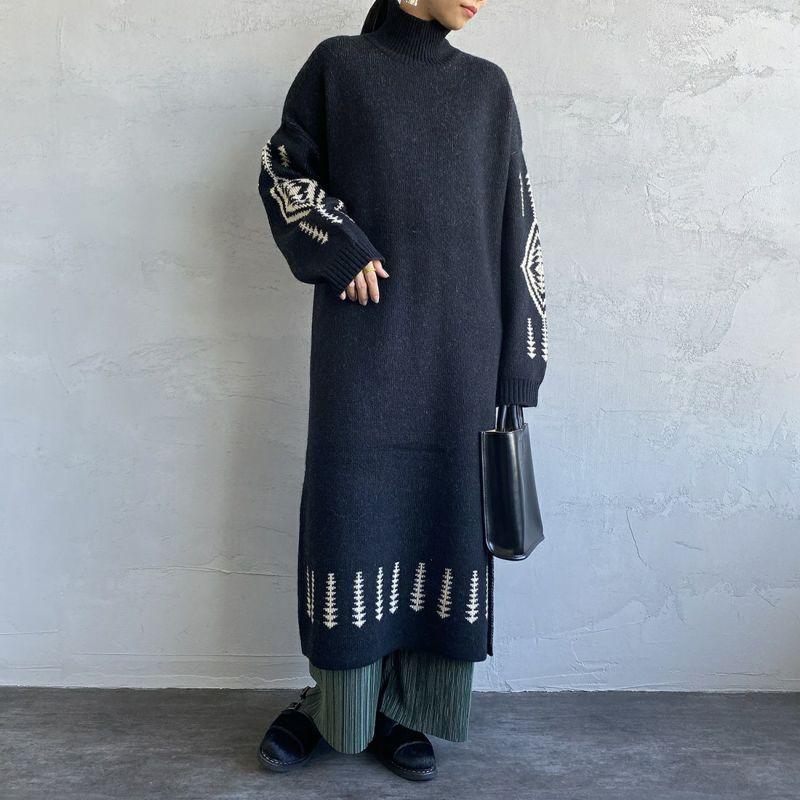 PENDLETON [ペンドルトン] ハイネックワンピース [1575-6101] 49 BLACK&&モデル身長:156cm 着用サイズ:F&&