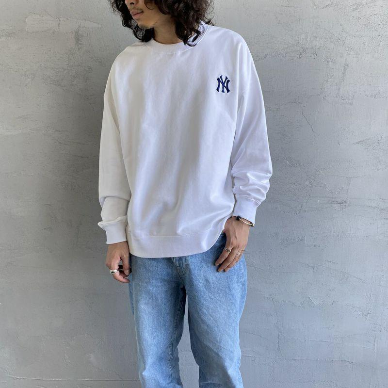 Fanatics [ファナティクス] 別注 NYロゴクルーネックスウェット [MM05-NY-1F05-JF] WHITE&&モデル身長:173cm 着用サイズ:L&&