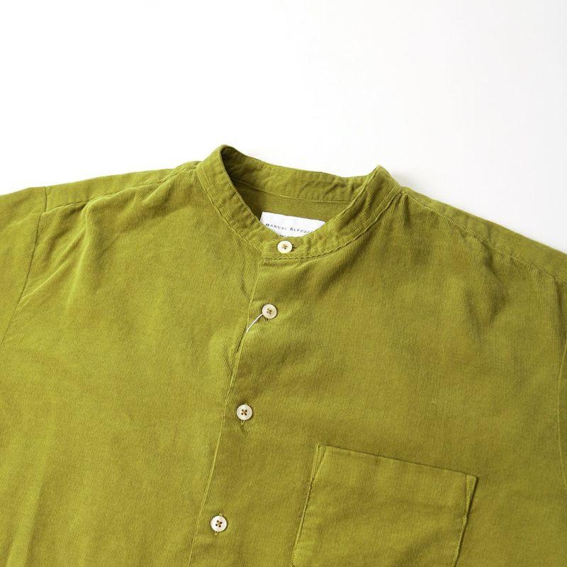 MANUAL ALPHABET [マニュアルアルファベット] コーデュロイルーズフィットバンドカラーシャツ [MA-S-491] MOSS