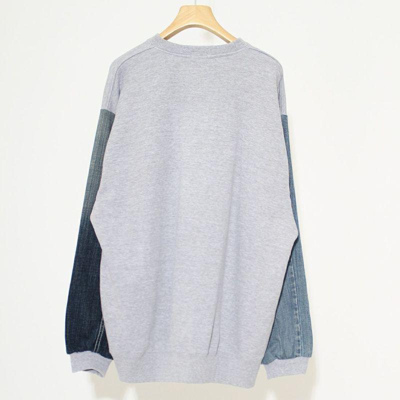 ODDMENT [オッドメント] コンビデニムスウェットシャツ [COMBI-DENIM-SWEAT] GREY