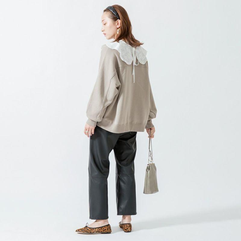Jeans Factory Clothes [ジーンズファクトリークローズ] ブレスレザーイージーパンツ [213052] ブラック &&モデル身長:160cm 着用サイズ:36&&