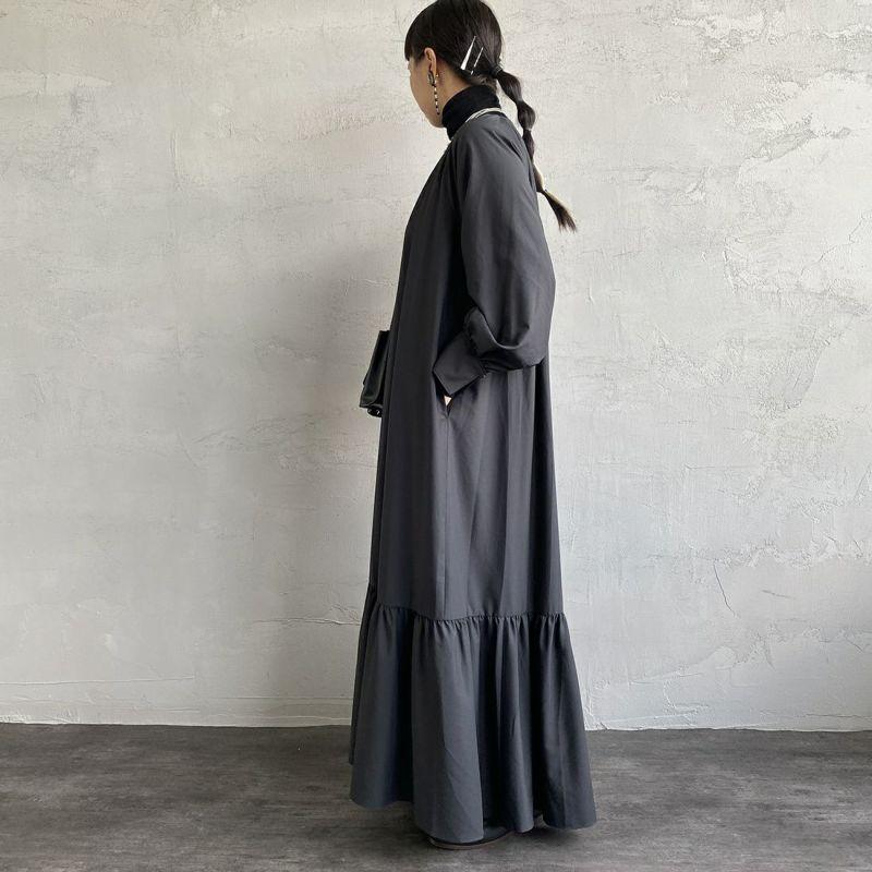 ma couleur [マ クルール] マイクロファイバービンテージ バックテールワンピース [J-4173] 040 ブラック&&モデル身長:156cm 着用サイズ:38&&