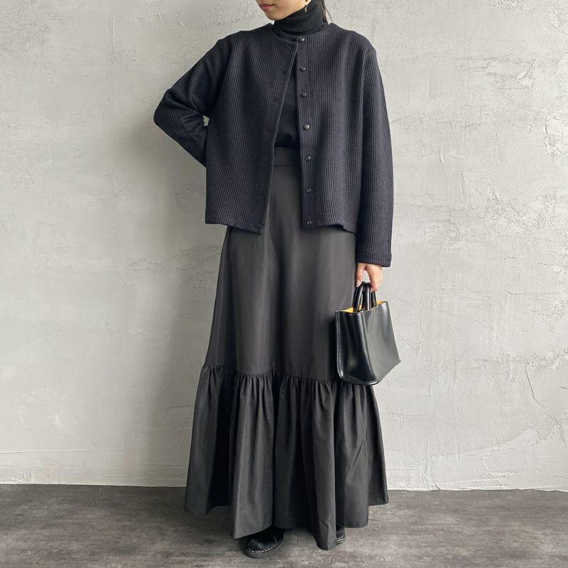 mizuiro ind [ミズイロインド] クルーネックカーディガン [3-219621] 99 BLACK&&モデル身長:156cm 着用サイズ:F&&