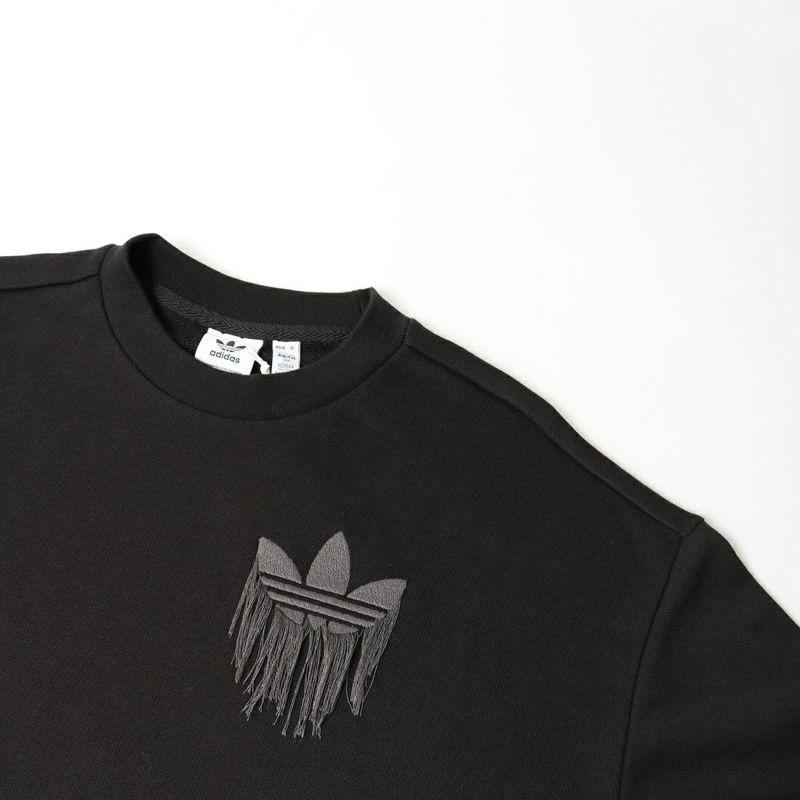 adidas Originals [アディダス オリジナルス] トレフォイル フリンジ刺繍付きスウェット [H18078] ブラック