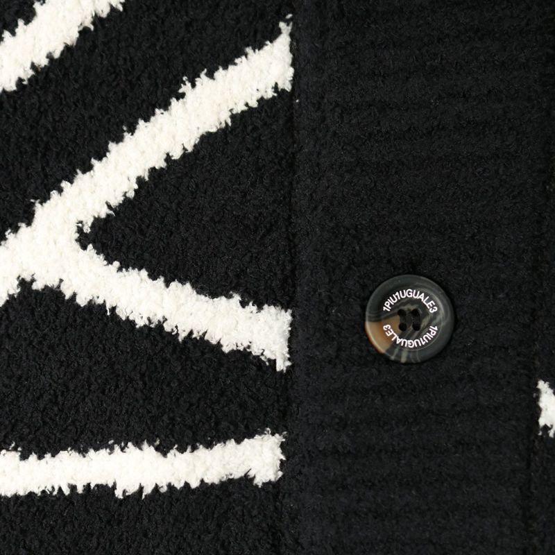 1PIU1UGUALE3 [ウノ ピゥ ウノ ウグァーレ トレ] ロゴショールカラーカーディガン [USK-21017] BLACK