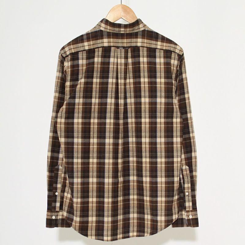 Gymphlex [ジムフレックス] 長袖ボタンダウンチェックシャツ [J-0643VHC] BROWN/SAX