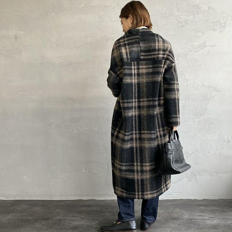 Jeans Factory Clothes [ジーンズファクトリークローズ] イタリアンエアリーチェックガウンコート [895278-00] ブラックチェック&&モデル身長:163cm 着用サイズ:F&&