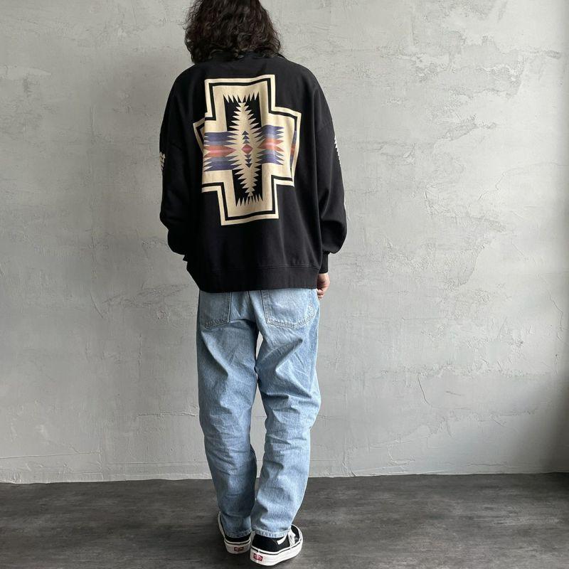 PENDLETON [ペンドルトン] 別注 バックプリントスウェット [1475-5220-JF] 49 BLACK&&モデル身長:173cm 着用サイズ:XL&&