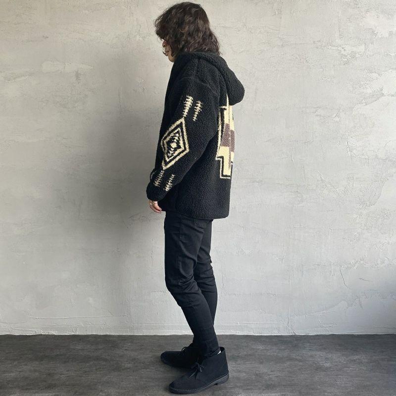 PENDLETON [ペンドルトン] ネイティブ柄 ボアフードジャケット [1475-5009] 49 BLACK&&モデル身長:173cm 着用サイズ:L&&