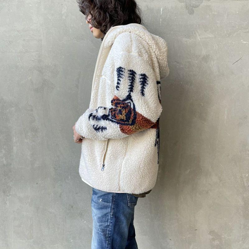 PENDLETON [ペンドルトン] ネイティブ柄 ボアフードジャケット [1475-5009] 28 IVORY&&モデル身長:173cm 着用サイズ:M&&