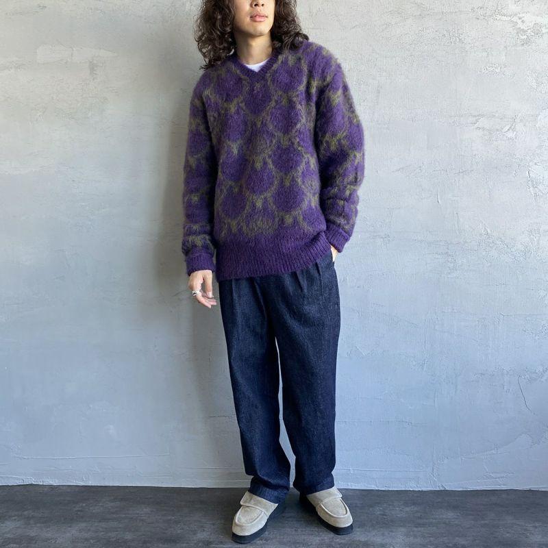 South2West8 [サウスツーウエストエイト] ルーズフィットVネックセーター [JO867] A PURPLE&&モデル身長:173cm 着用サイズ:M&&