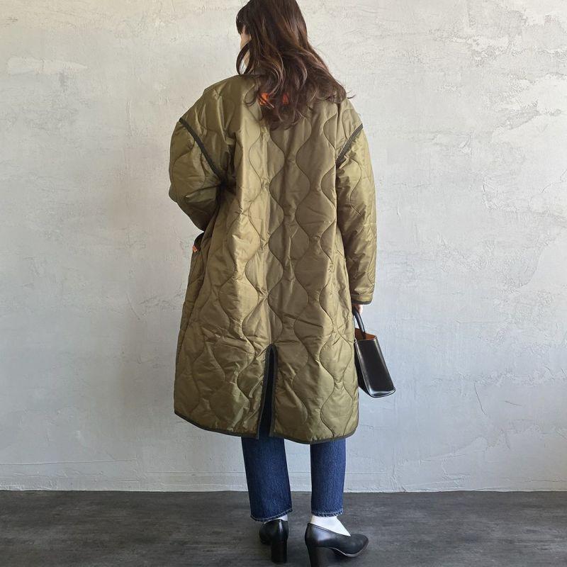 UNIVERSAL OVERALL [ユニバーサルオーバーオール] 別注 ノーカラーキルティングジャケットコート [U2133504IN-JF] OLIVE &&モデル身長:160cm 着用サイズ:S&&