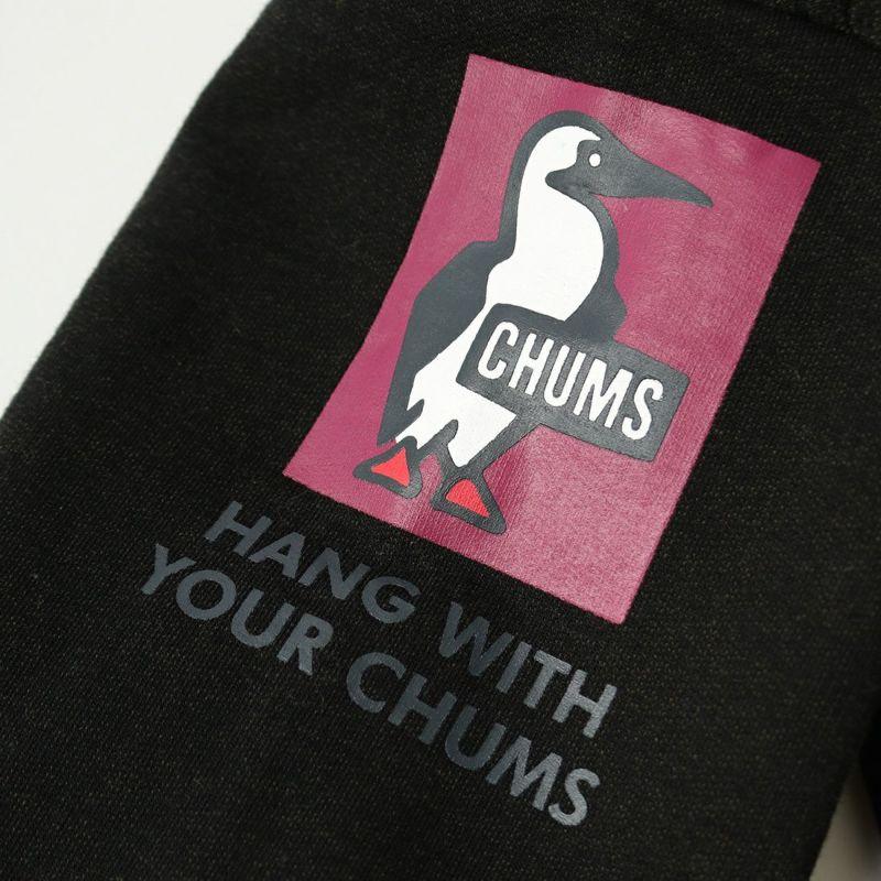 CHUMS [チャムス] 別注 カンガルーポケット 袖ロゴプリントスウェットパーカー [CH00-1342-JF] BLACK