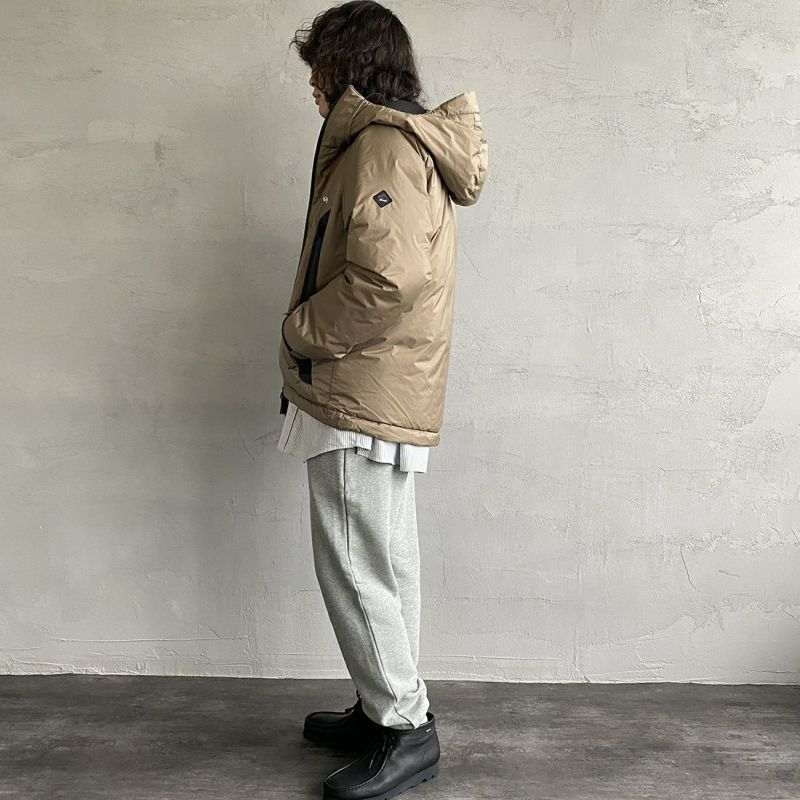 JEANSFACTORY × NANGA [ジーンズファクトリー × ナンガ] 別注 オーロラダウンジャケット [JMP-214-036-JF] BEIGE&&モデル身長:173cm 着用サイズ:L&&