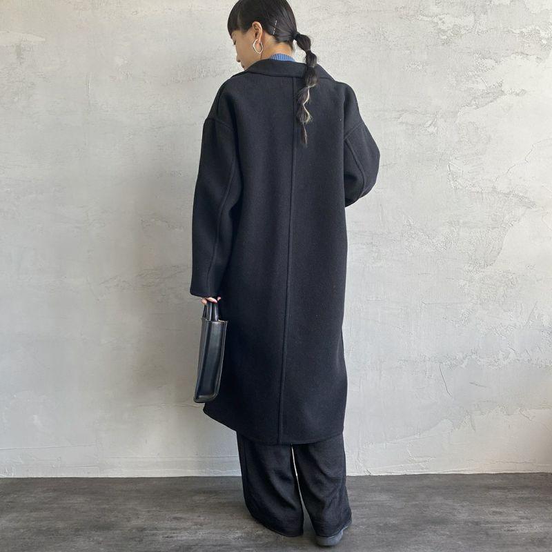 Jeans Factory Clothes [ジーンズファクトリークローズ] ウールダブルフェイスオーバーコート [8514151-02] BLK &&モデル身長:156cm 着用サイズ:F&&