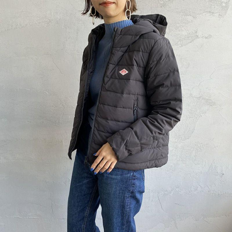 DANTON [ダントン] ナイロンストレッチタフタ フード付きライトダウンジャケット [DT-A0004MNT] BLACK&&モデル身長:163cm 着用サイズ:XS&&
