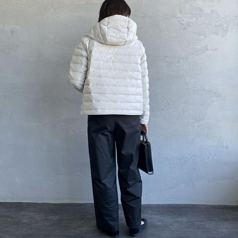 DANTON [ダントン] ナイロンストレッチタフタ フード付きライトダウンジャケット [DT-A0004MNT] ICE GREY&&モデル身長:160cm 着用サイズ:XS&&