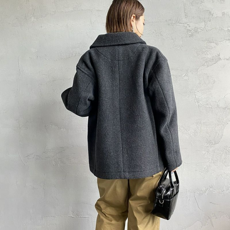 DANTON [ダントン] ウールパイル 丸襟ジャケット [DT-A0010WOP] H.CHARCOAL&&モデル身長:160cm 着用サイズ:36&&