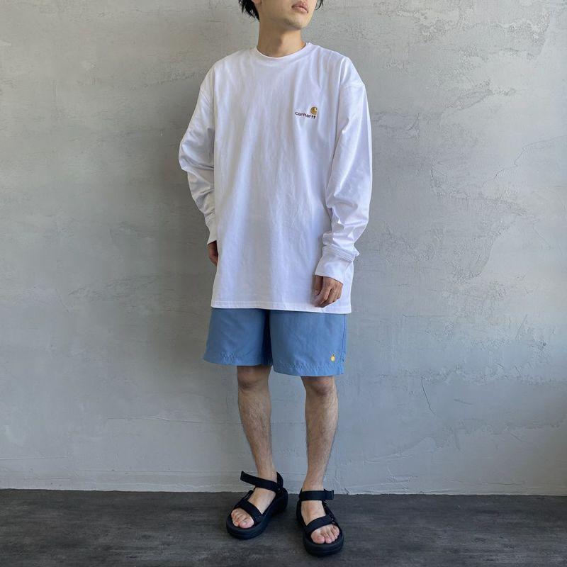 carhartt WIP [カーハートダブリューアイピー] ロングスリーブアメリカンスクリプトTシャツ [I029955] BLACK&&モデル身長:173cm 着用サイズ:XL&&