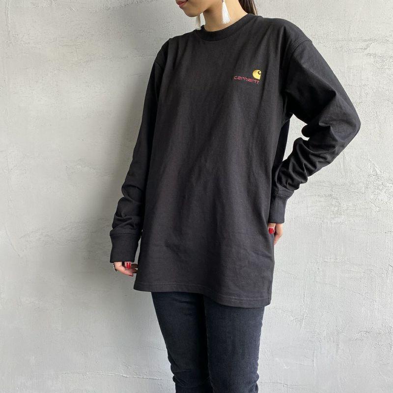 carhartt WIP [カーハートダブリューアイピー] ロングスリーブアメリカンスクリプトTシャツ [I029955] BLACK&&モデル身長:156cm 着用サイズ:S&&