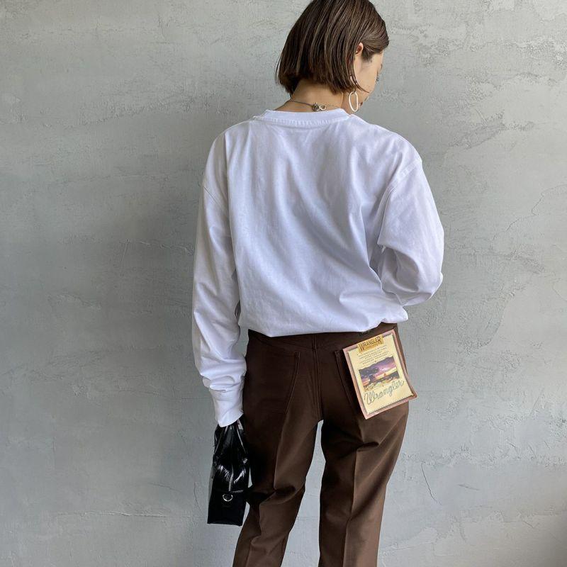 carhartt WIP [カーハートダブリューアイピー] ロングスリーブアメリカンスクリプトTシャツ [I029955] WHITE&&モデル身長:163cm 着用サイズ:S&&