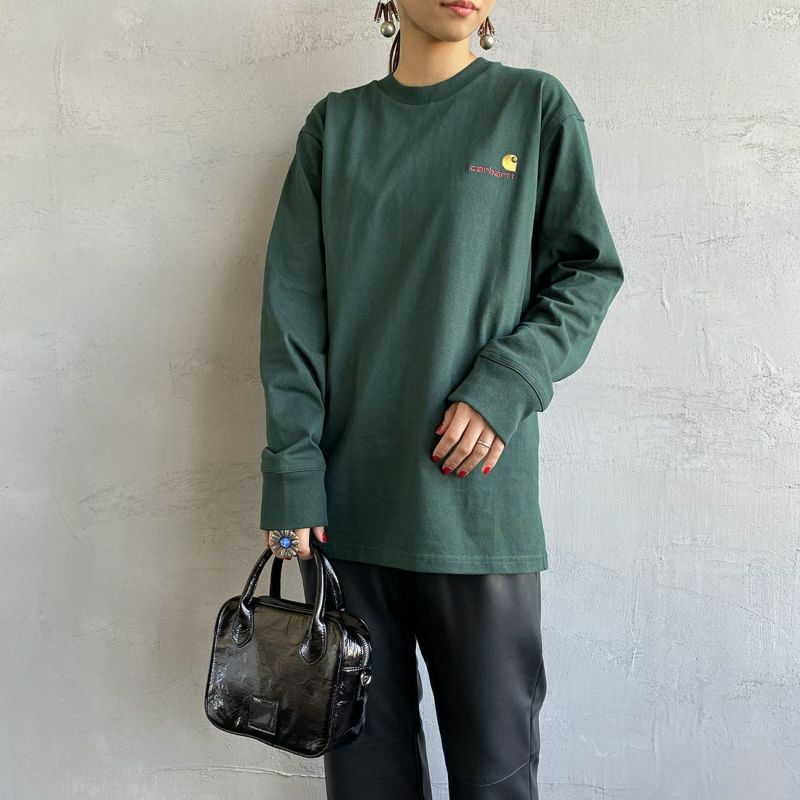 carhartt WIP [カーハートダブリューアイピー] ロングスリーブアメリカンスクリプトTシャツ [I029955] GROVE&&モデル身長:156cm 着用サイズ:XS&&